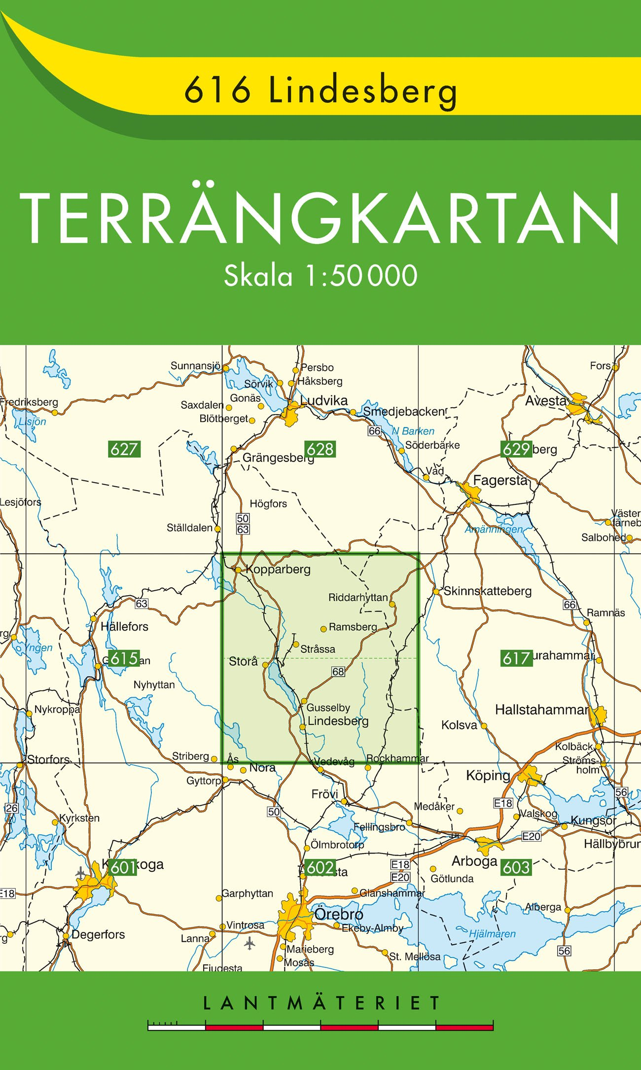 TKS-616 Lindesberg 9789158806160  Kartförlaget - Lantmäteriet Terrängkartan  Wandelkaarten Zuid-Zweden