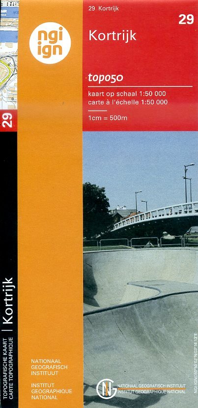NGI-29  Kortrijk (topografische kaart 1:50.000) 9789462351004  NGI Belgie 1:50.000  Wandelkaarten Vlaanderen & Brussel