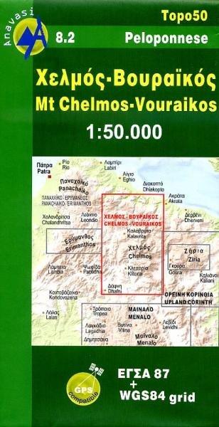 08.2  Chelmos 1:50.000 9789608195332  Anavasi Topo 50  Wandelkaarten Peloponnesos