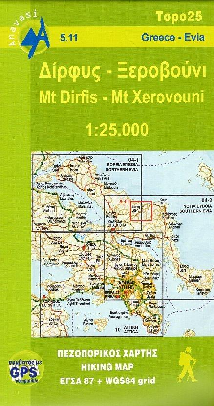 05.11  Mt.Dhirfis (Evia) 1:25.000 9789608195394  Anavasi Topo 25  Wandelkaarten Midden en Noord-Griekenland, Athene