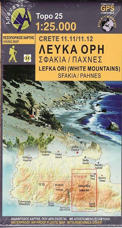 11.11 Kreta Lefka Ori-Sfakia 1:25.000 9789609412193  Anavasi Topo 25  Wandelkaarten Kreta
