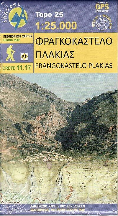 Kreta 11.17  Frangokastelo - Plakias 9789609412216  Anavasi Topo 25  Wandelkaarten Kreta