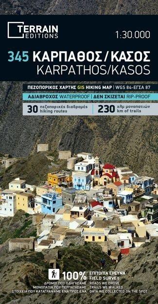 TM-345  Karpathos, Kasos 1:30.000 9789609456388  Terrain Maps Dodecanese Islands  Wandelkaarten Egeïsche Eilanden