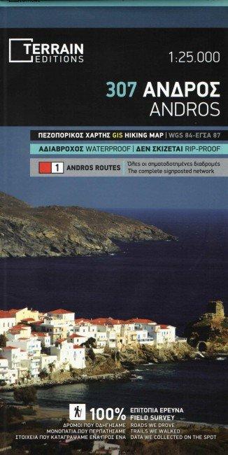 TM-307  Andros 1:25.000 9789609456807  Terrain Maps Cyclades  Wandelkaarten Egeïsche Eilanden