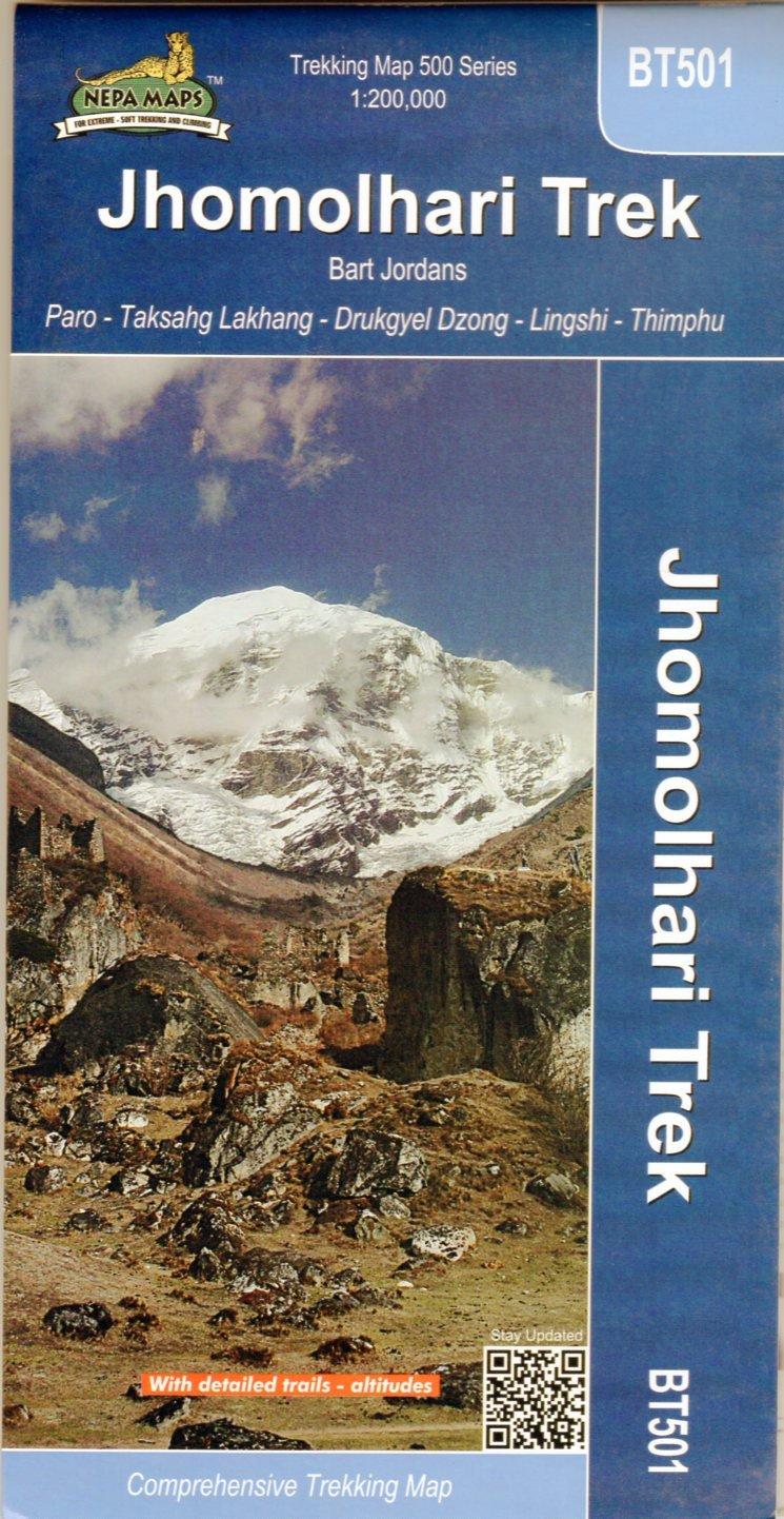 Jomolhari Trek 1:200.000 9789937649162 Bart Jordans Nepa Maps Wandelkaarten Nepal  Landkaarten en wegenkaarten, Wandelkaarten Bhutan en Sikkim