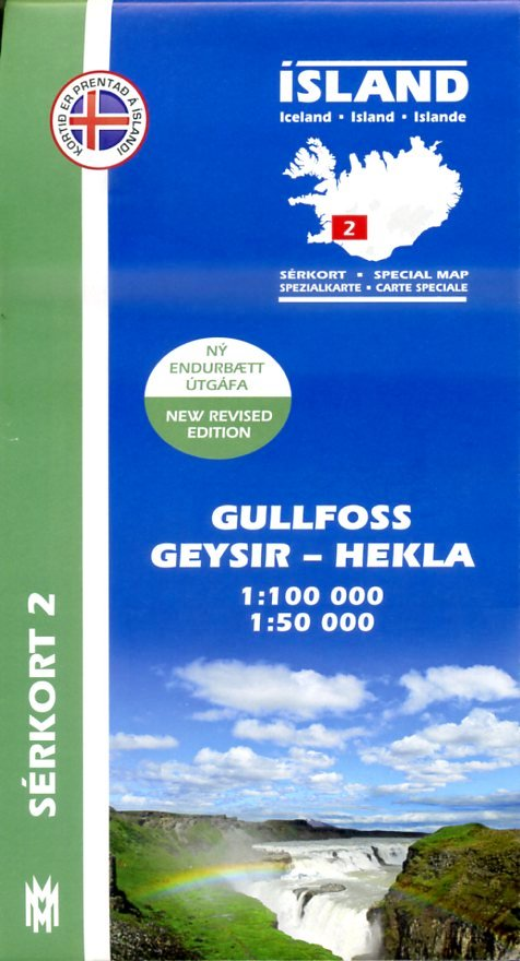 SK-02  Gullfoss, Geysir, Hekla 1:100/50.000 9789979330332  Mal og Menning Sérkort  Wandelkaarten IJsland