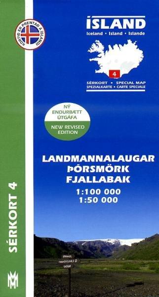 SK-04  Landmannalaugar 1:100.000 en 1:50.000 9789979330356 1:100 000 en 1:50.000 Mal og Menning Sérkort  Wandelkaarten IJsland