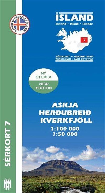 SK-07 Askja, Herðubreið, Kverkfjöll  1:100/ 50.000 9789979330387  Mal og Menning Sérkort  Wandelkaarten IJsland