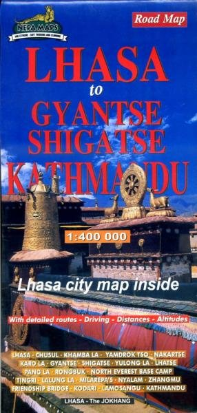 Lhasa to Kathmandu 1:400.000 9789993348009  Nepa Maps Wandelkaarten Nepal  Landkaarten en wegenkaarten Tibet
