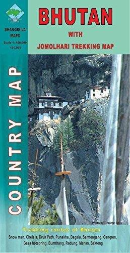 Bhutan map 1:450.000 9789993360247  Shangri-La   Landkaarten en wegenkaarten, Wandelkaarten Bhutan en Sikkim